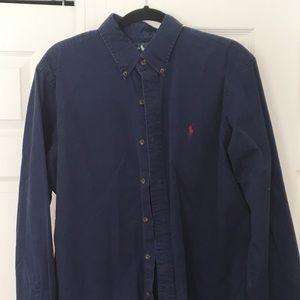 Navy blue Polo button down men's shirt